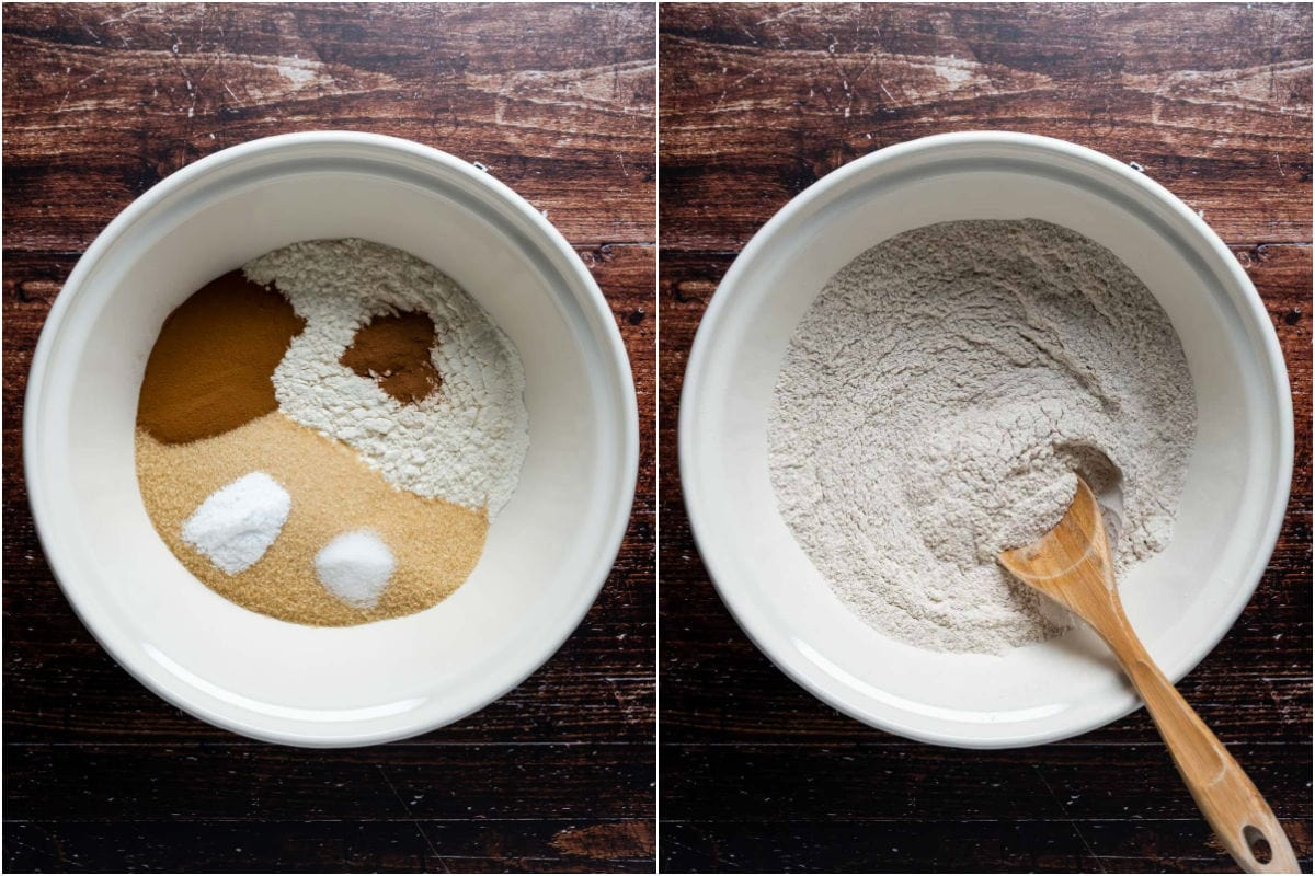 Two photo collage showing dry ingredients added to mixing bowl and mixed.