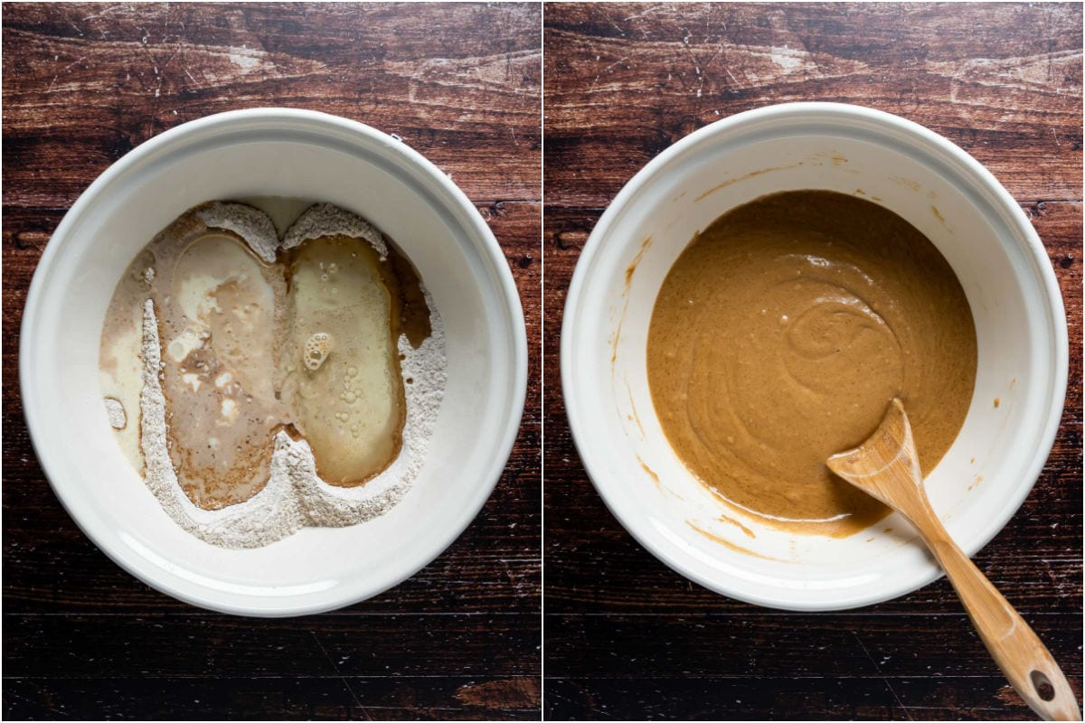 Two photo collage showing wet ingredients added to dry and mixed into a cake batter.