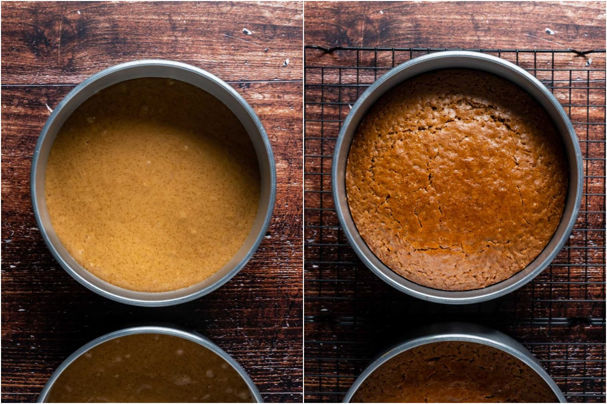 Two photo collage showing eggless coffee cake before and after baking.