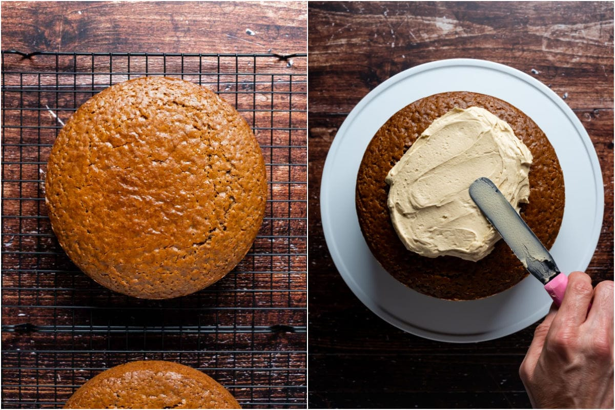 Two photo collage showing cake cooling on wire cooling rack and then being frosted.