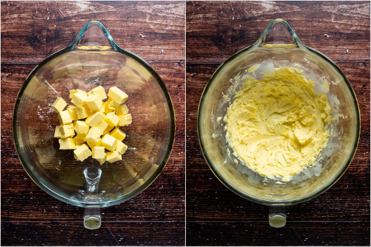 Two photo collage showing butter added to stand mixer and beaten until soft.