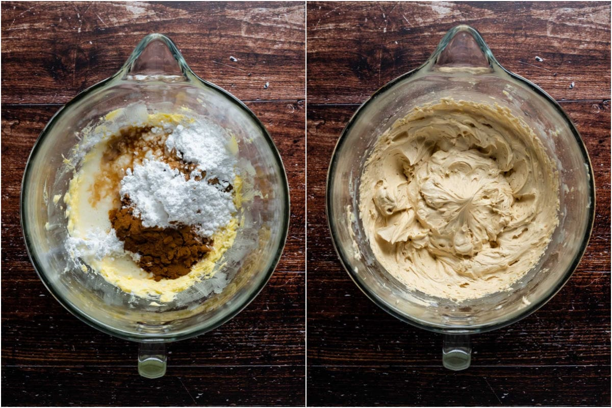 Two photo collage showing ingredients for frosting added to stand mixer and mixed into frosting.