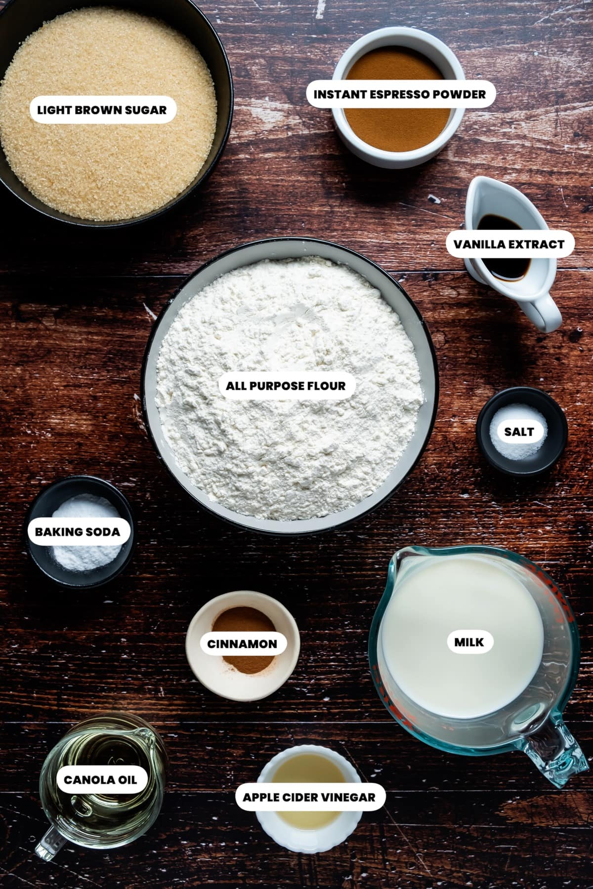 Photo of the ingredients needed to make eggless coffee cake