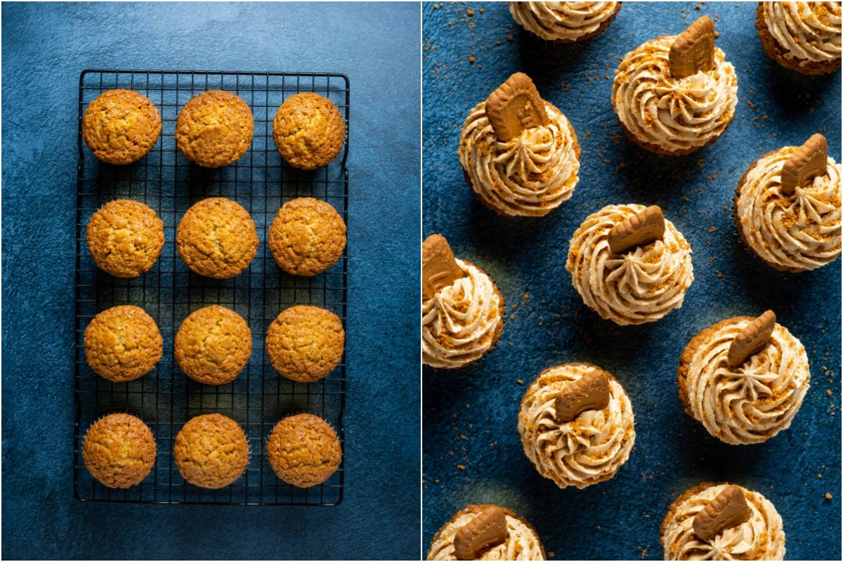 Two photo collage showing cupcakes cooling on a wire cooling rack and then frosted and decorated.
