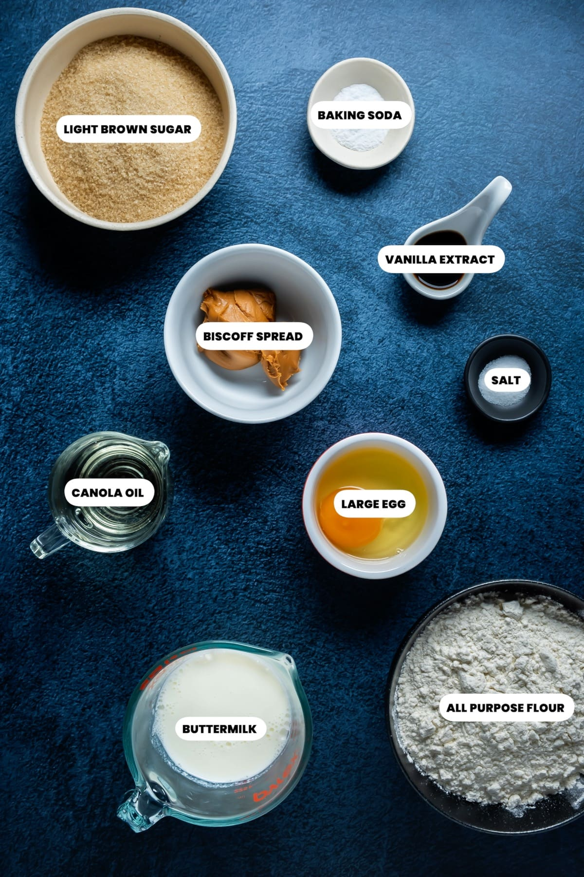 Photo of the ingredients needed to make biscoff cupcakes.