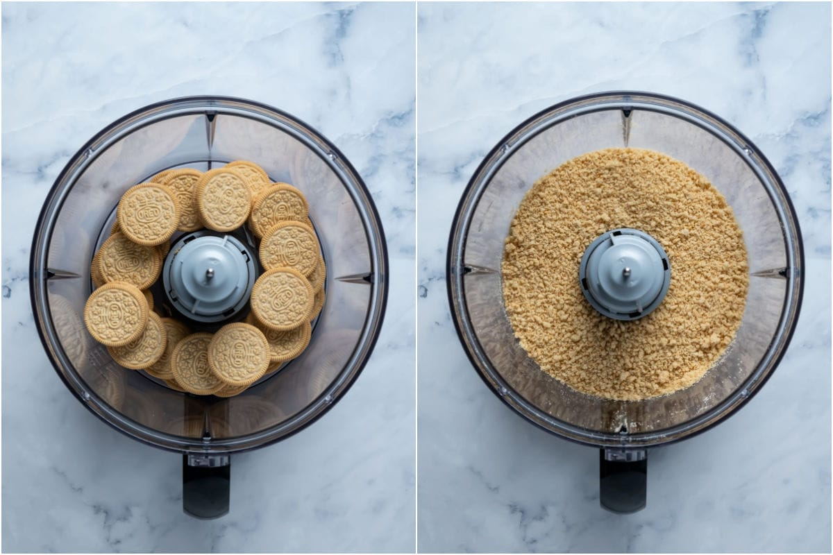 Two photo collage showing golden oreos added to food processor and processed into crumbs.