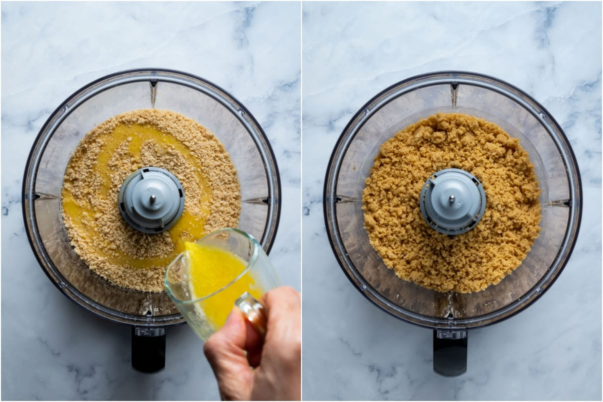 Two photo collage showing melted butter added to cookie crumbs and processed in.
