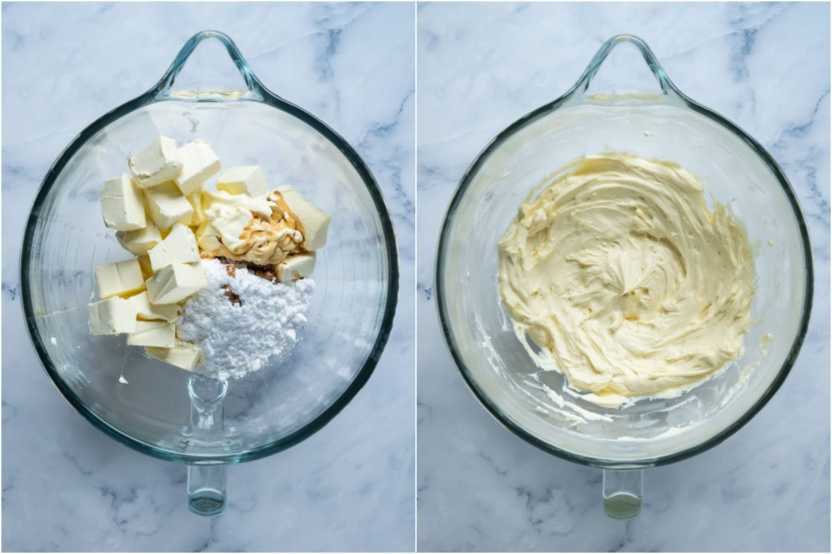Two photo collage showing cream cheese, sour cream, powdered sugar and vanilla added to stand mixer and mixed until smooth.