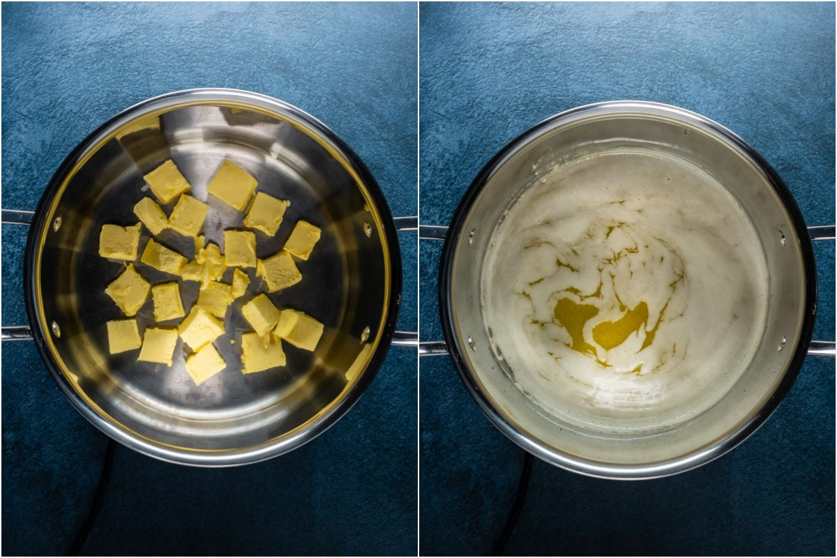 Two photo collage showing butter added to pot and melted.