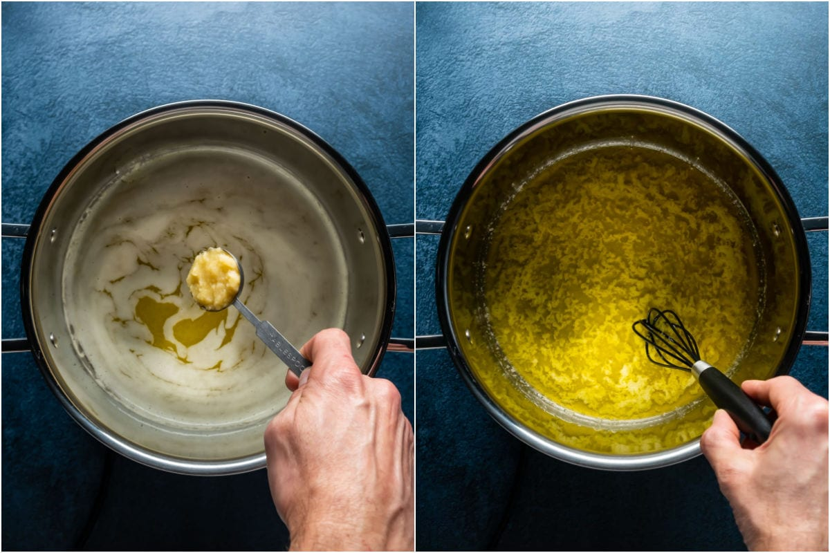 Two photo collage showing crushed garlic added to bowl and mixed in with the butter.