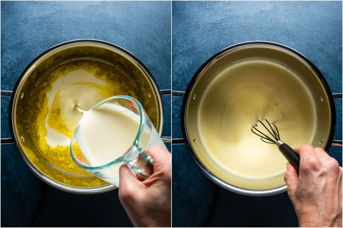Two photo collage showing heavy cream added to pot and mixed in.