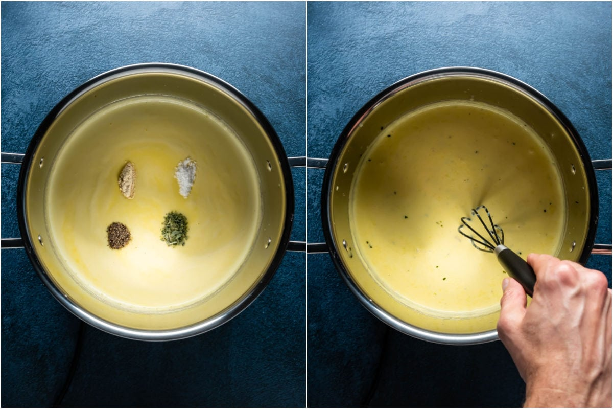 Two photo collage showing spices added to pot and mixed in.