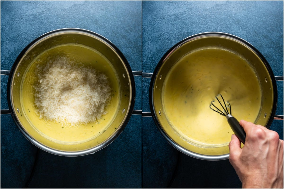 Two photo collage showing grated parmesan added to sauce and mixed in.