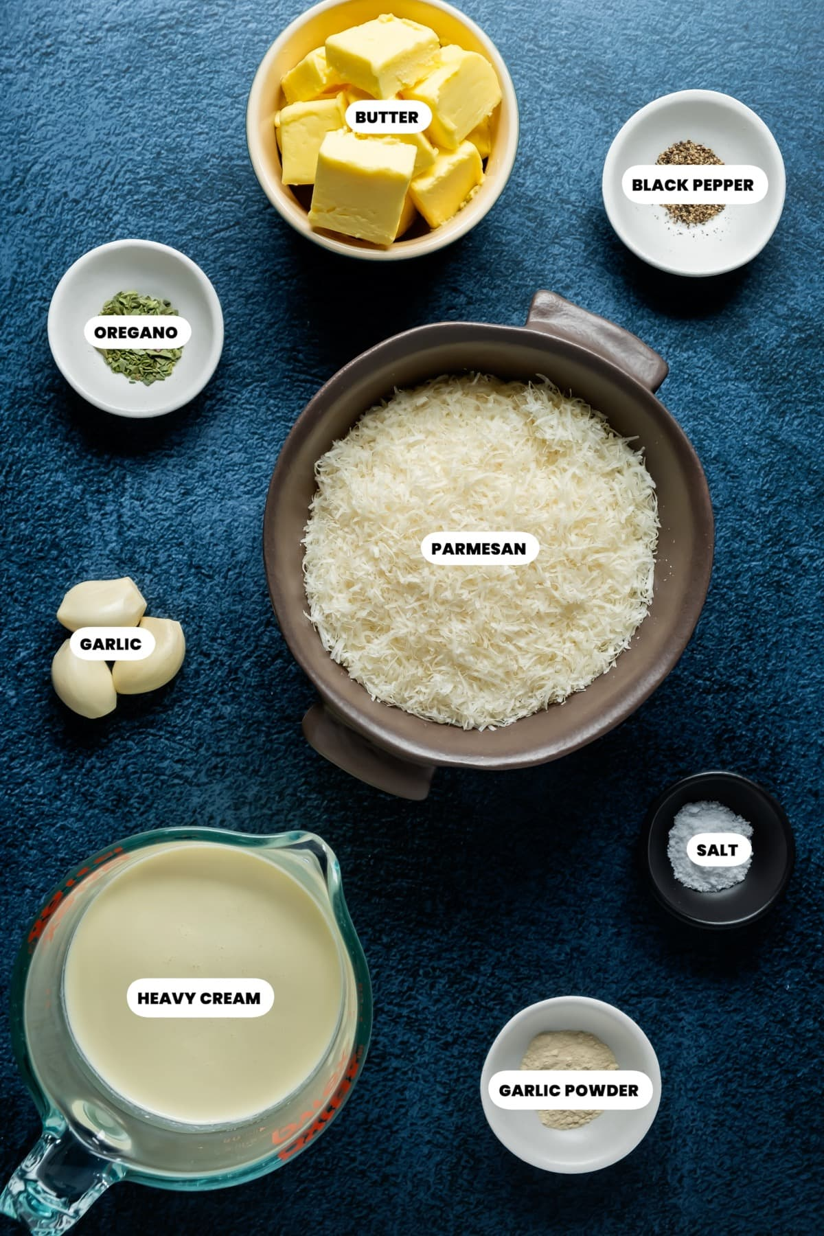 Photo of the ingredients needed to make alfredo sauce.