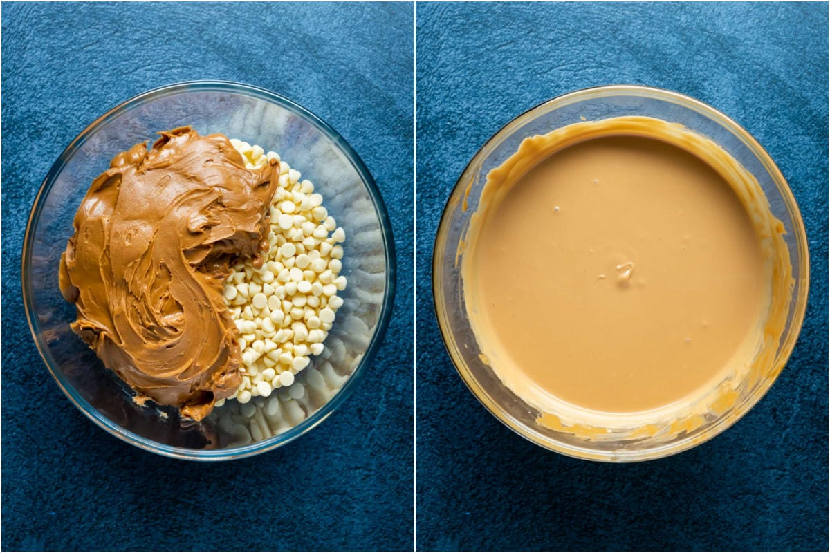 Two photo collage showing white chocolate and biscoff cookie butter added to microwave safe bowl and melted.