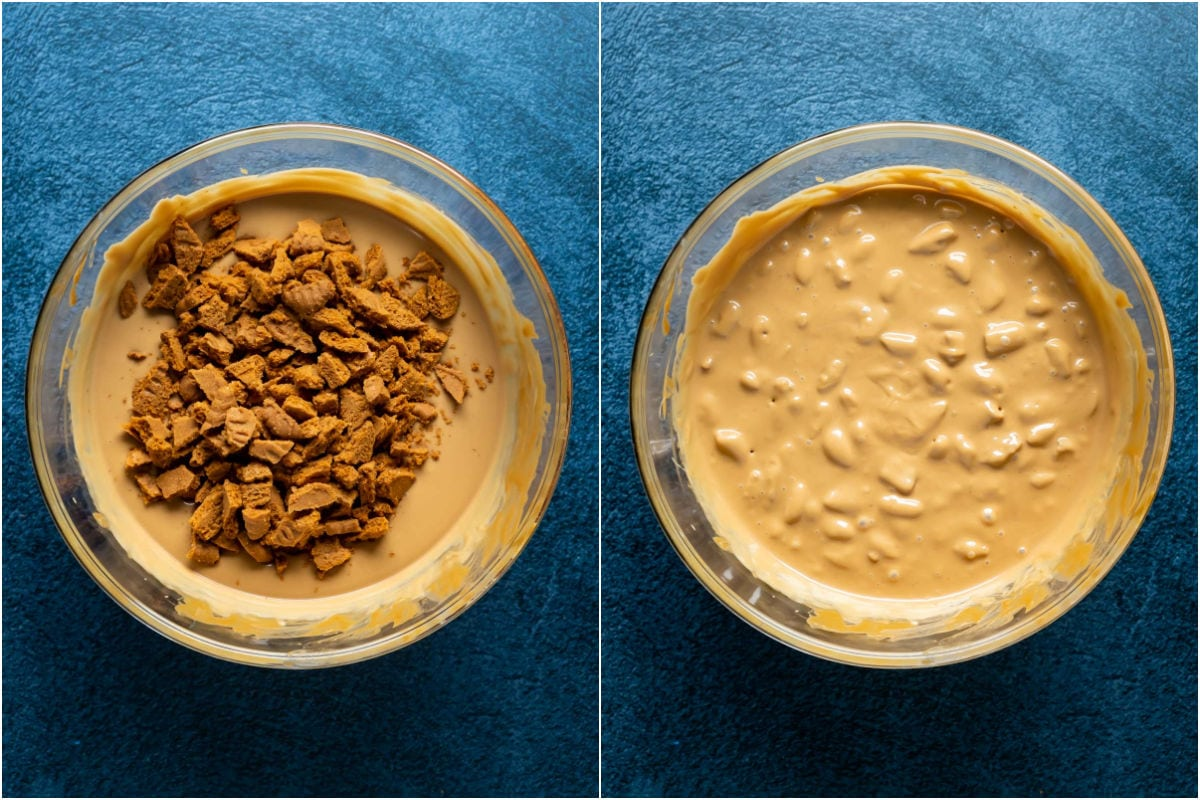 Two photo collage showing chopped biscoff cookies added to melted white chocolate and biscoff cookie butter mix and mixed in.