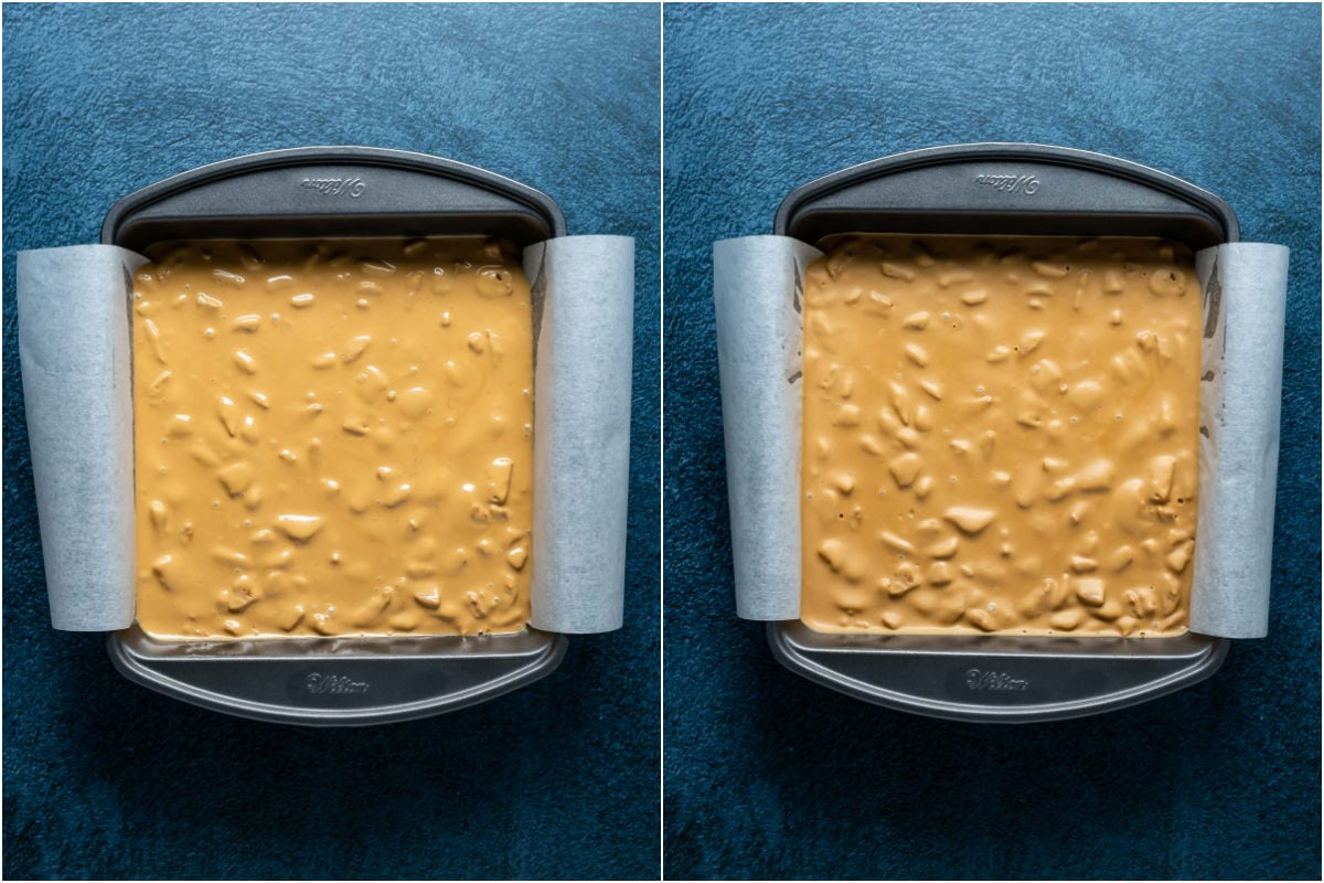 Two photo collage showing biscoff fudge in parchment lined tray and refrigerated till set.