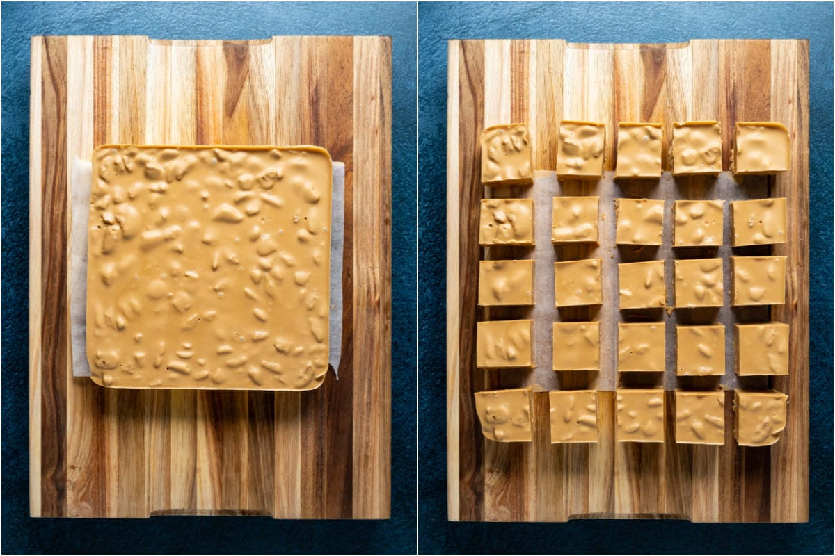 Two photo collage showing biscoff fudge lifted out of dish and placed onto wooden board and cut into squares.