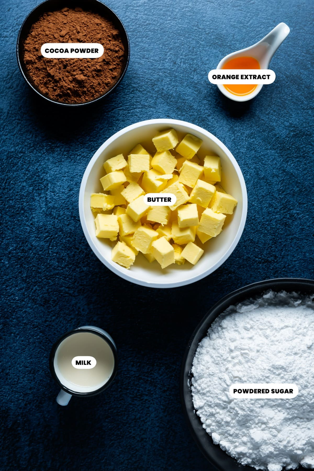 Photo of the ingredients needed to make chocolate orange buttercream frosting.