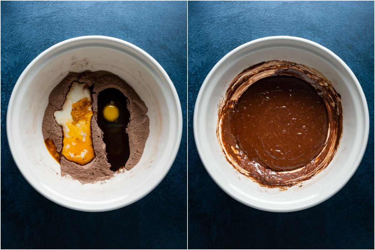 Two photo collage showing wet ingredients added to mixing bowl and mixed into a cupcake batter.