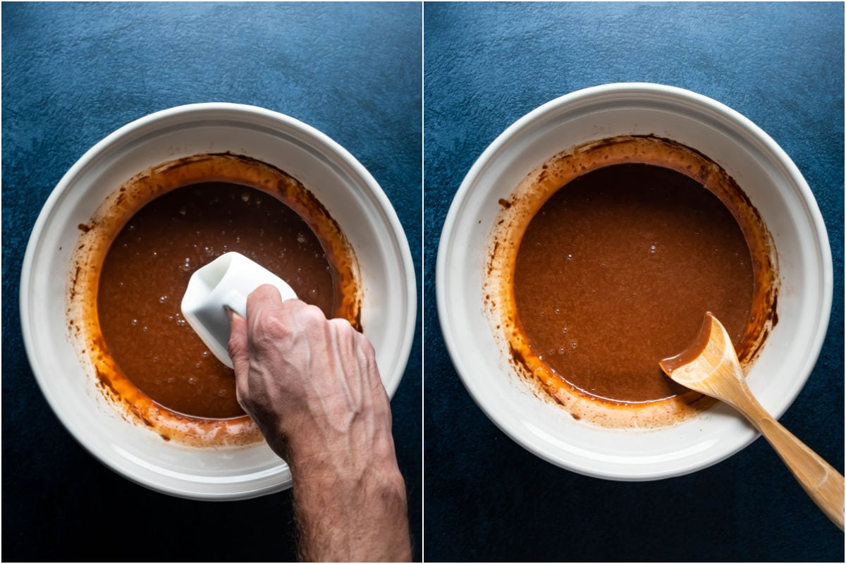 Two photo collage showing hot water added to batter and mixed in.