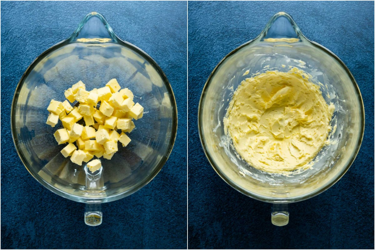 Two photo collage showing butter added to stand mixer and whipped until smooth.