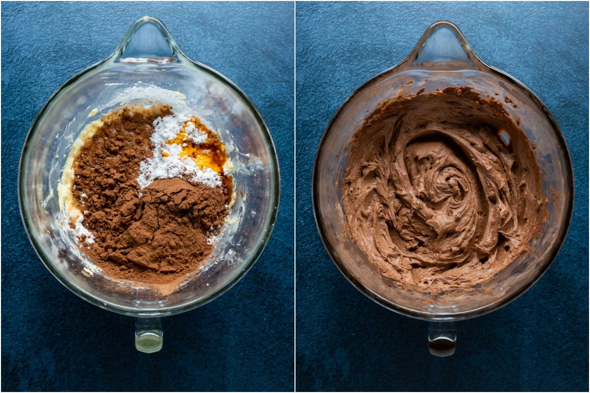 Two photo collage showing powdered sugar, cocoa powder, orange extract and milk added to stand mixer and whipped into a frosting.