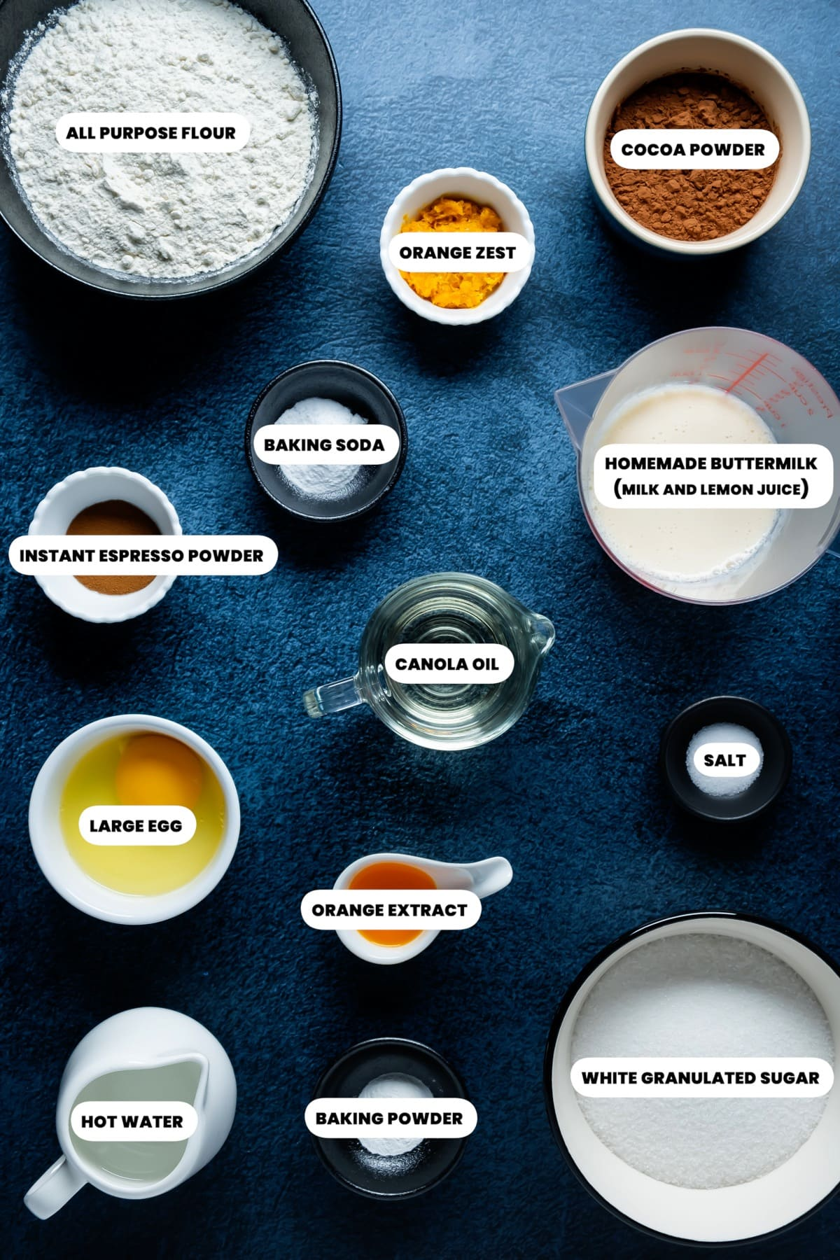Photo of the ingredients needed to make chocolate orange cupcakes.