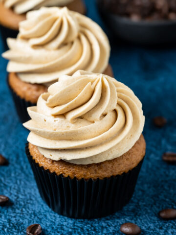 Espresso cupcakes topped with espresso frosting.