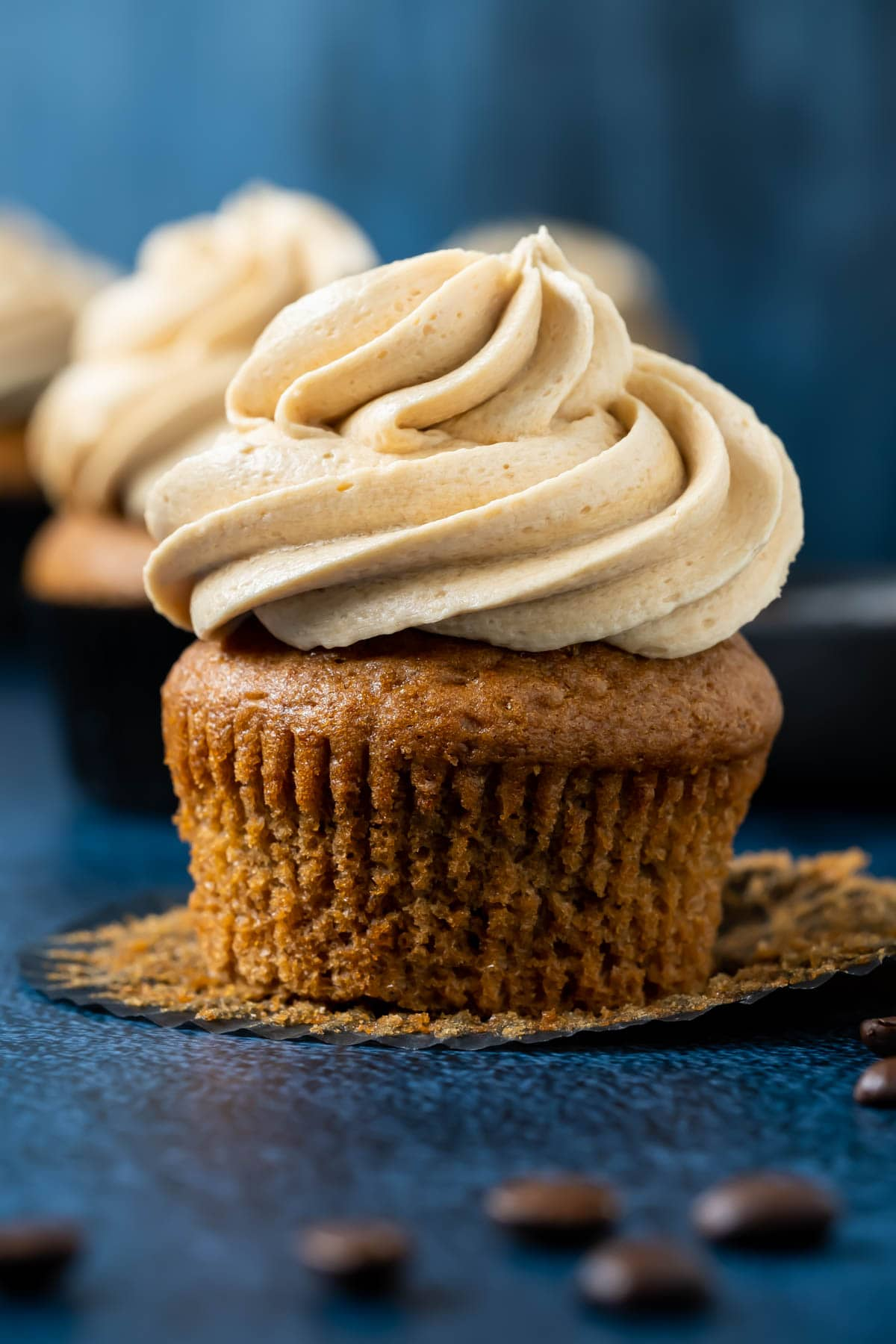 Espresso cupcake with the liner pulled down.