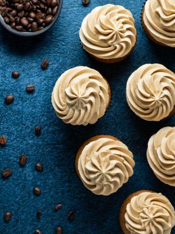 Overhead photo of espresso cupcakes.