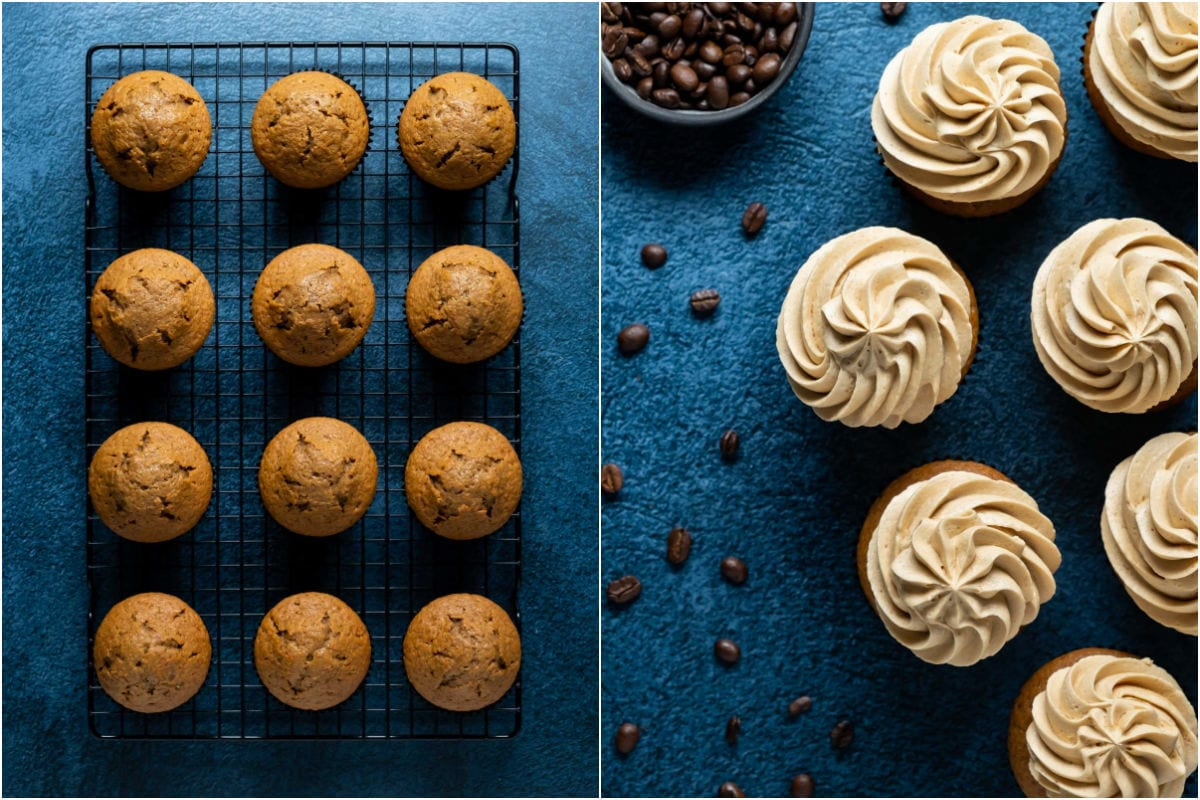Two photo collage showing espresso cupcakes on a wire cooling rack and then frosted.