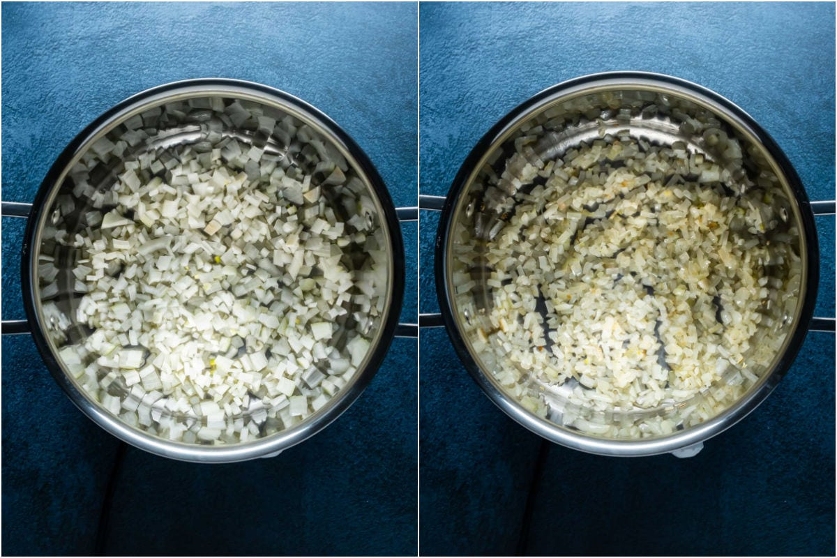Two photo collage showing onions and oil added to pot and sautéed.