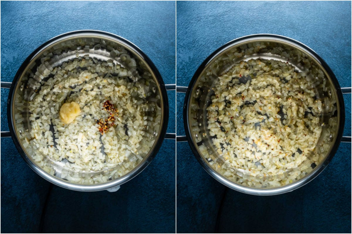 Two photo collage showing crushed garlic and red pepper flakes added to pot and sautéed with onions.