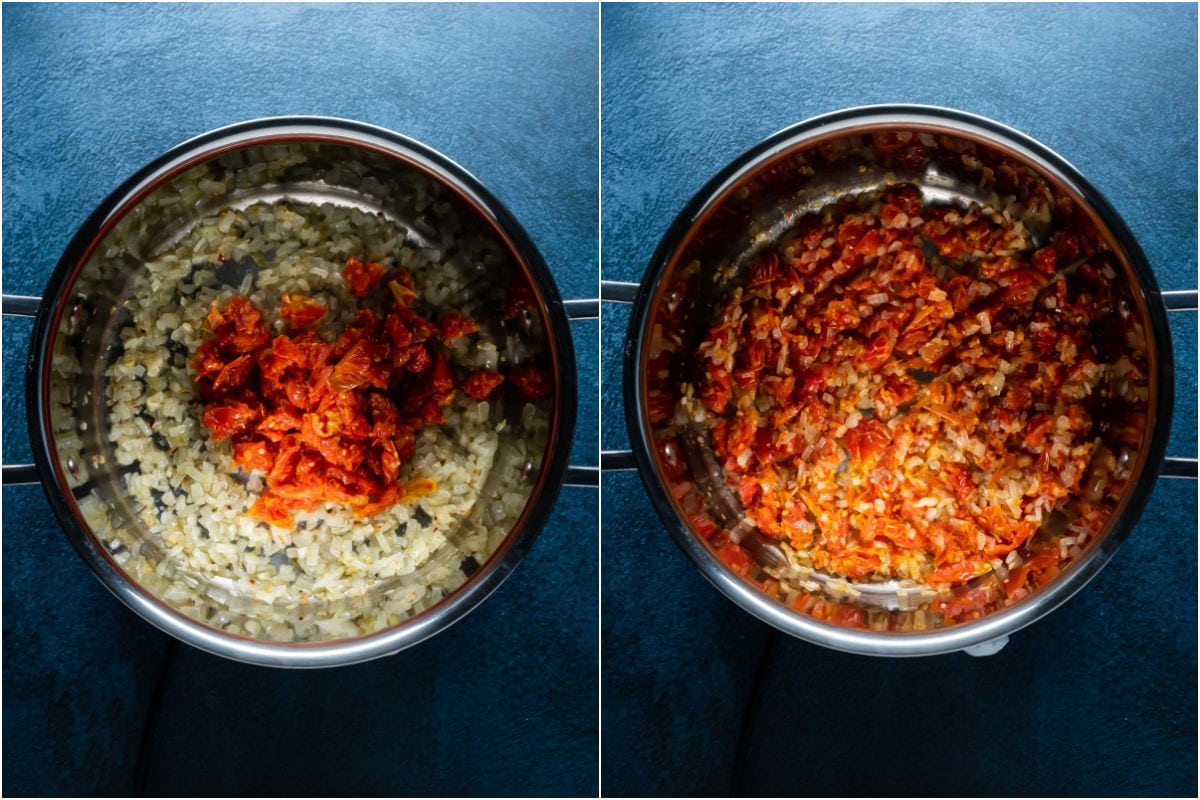 Two photo collage showing sun dried tomatoes added to pot and sautéed.