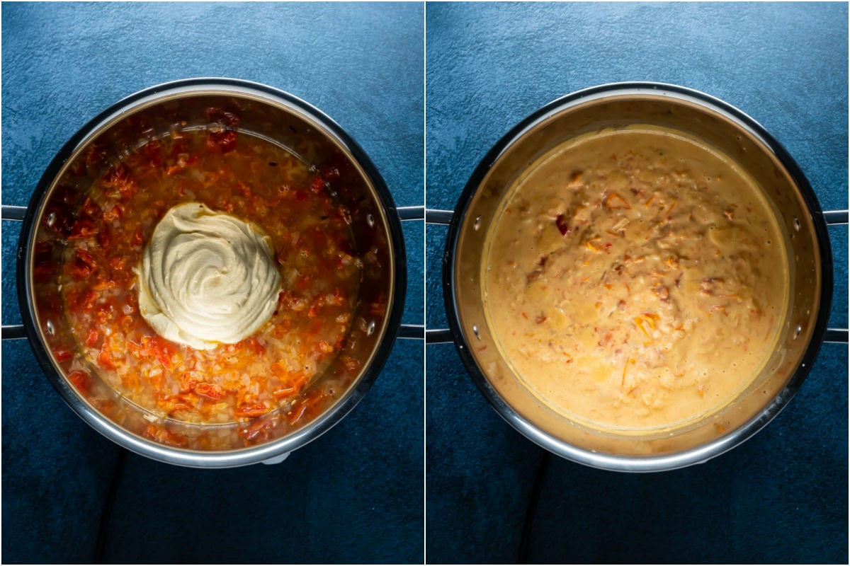 Two photo collage showing hummus, lemon juice and pasta water added to pot and mixed in.