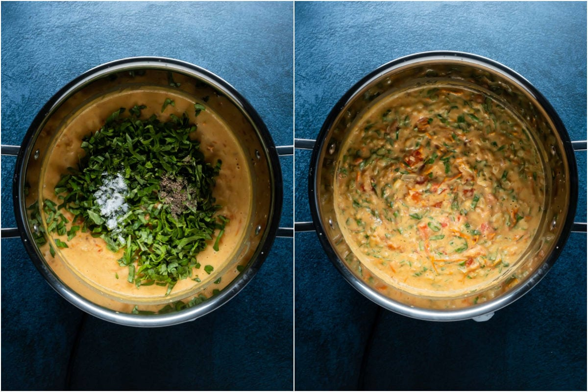 Two photo collage showing chopped basil, salt and pepper added to pot and mixed in.