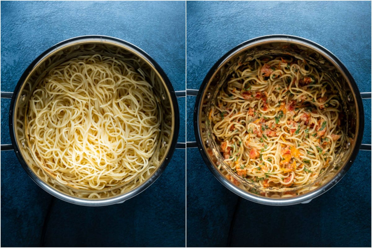 Collage of two photos showing cooked spaghetti added to pot and mixed in with the sauce.