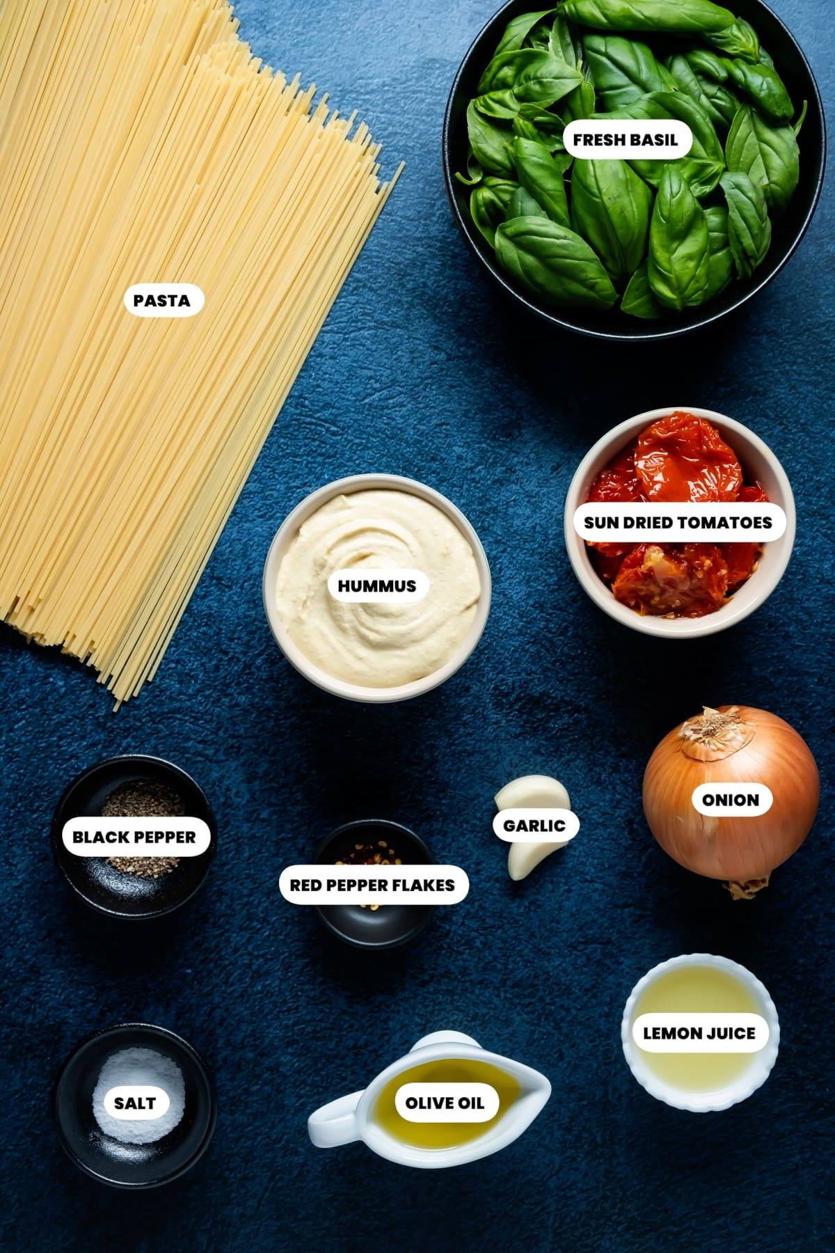 Photo of the ingredients needed to make hummus pasta.