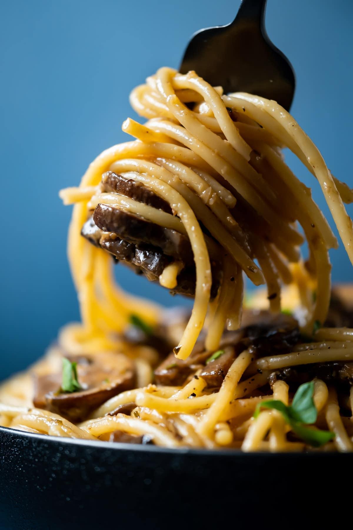 Forkful of mushroom pasta.