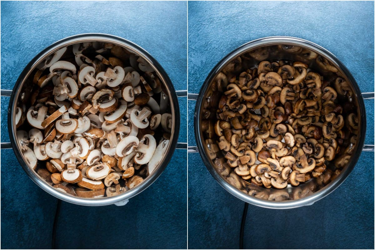 Two photo collage showing mushrooms and olive oil added to pot and sautéed together.