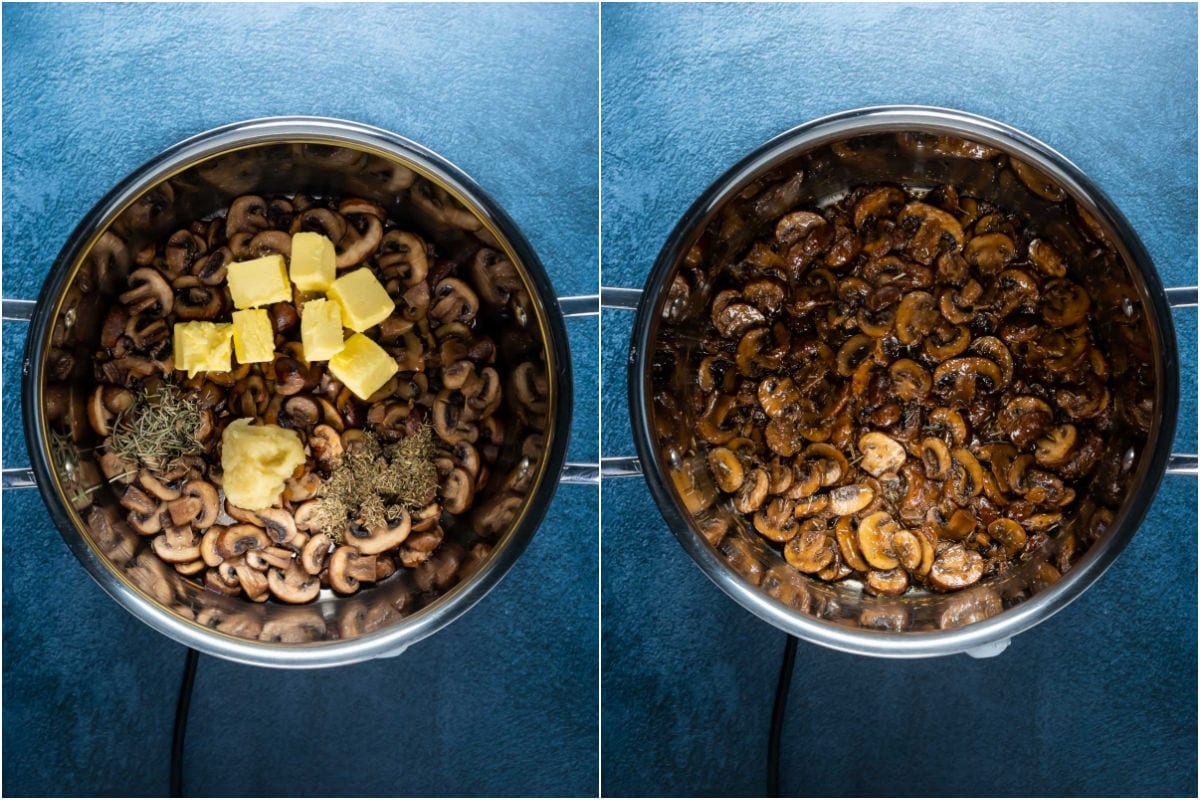 Two photo collage showing soy sauce, butter, garlic, thyme and rosemary added to pot and sautéed with the mushrooms.