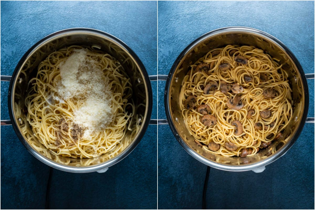 Two photo collage showing cooked pasta, lemon juice, salt, pepper and parmesan added to pot and tossed.