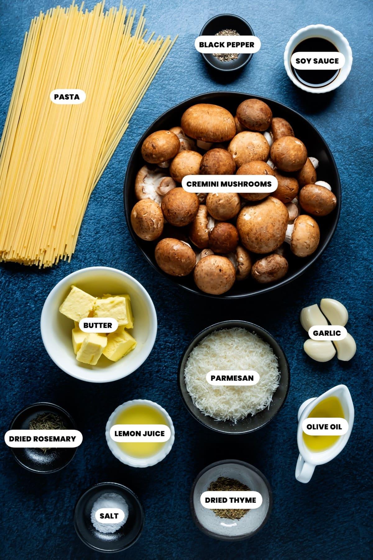 Photo of the ingredients needed to make mushroom pasta.