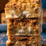 Biscoff blondies in a stack