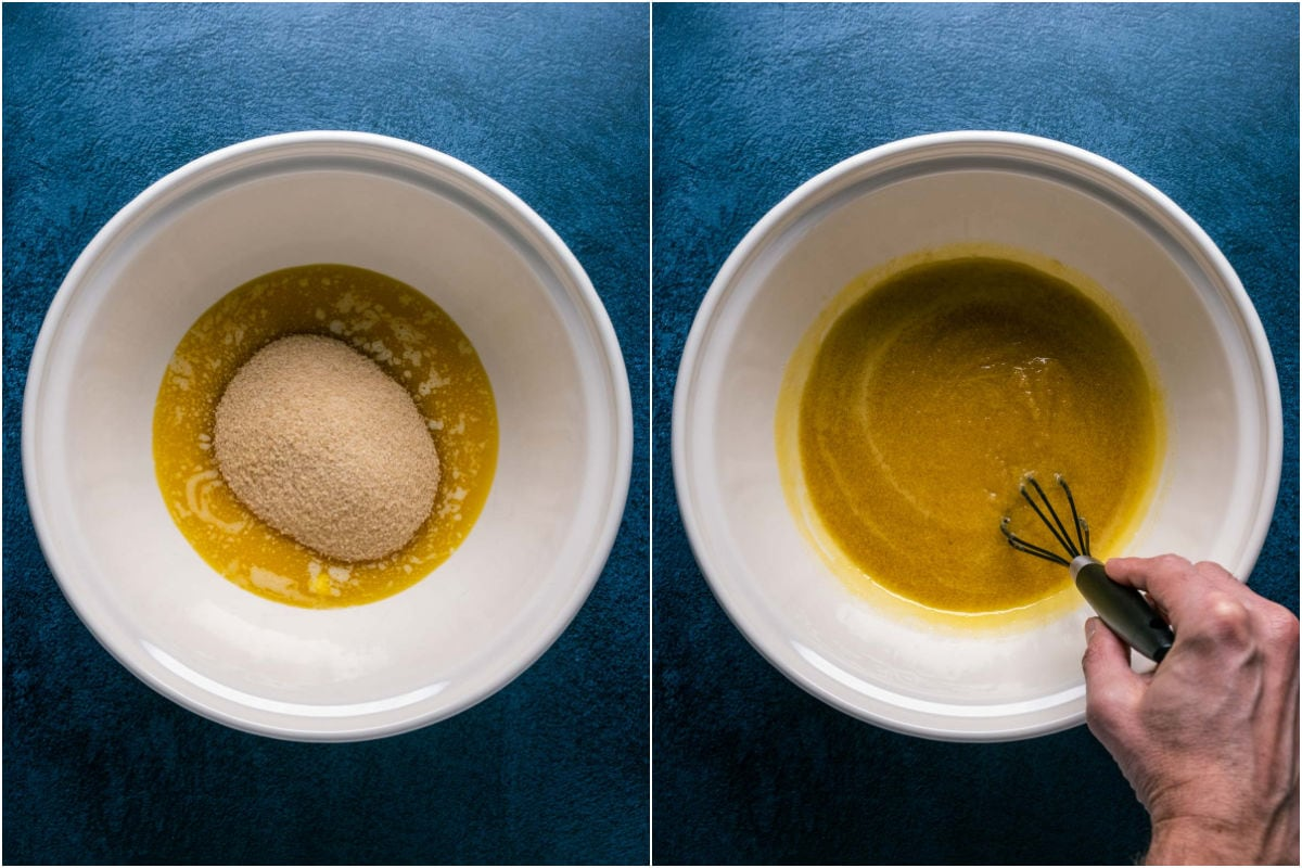 Two photo collage showing melted butter and brown sugar in a mixing bowl and whisked together.