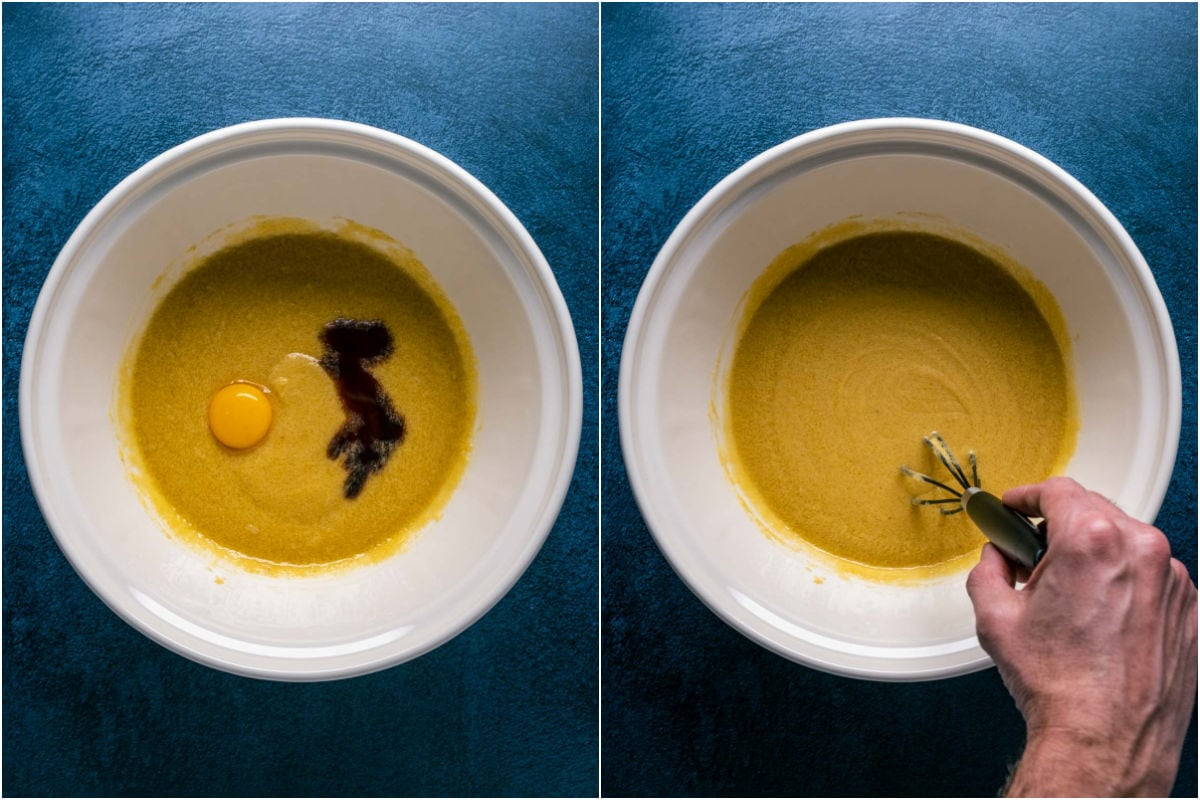 Two photo collage showing egg yolk and vanilla added to mixing bowl and whisked in.