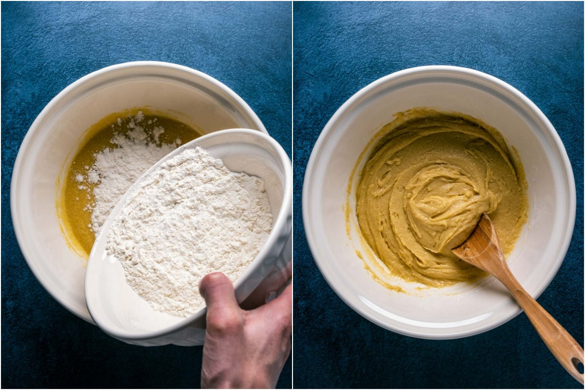 Two photo collage showing dry ingredients added to wet and mixed into a batter.