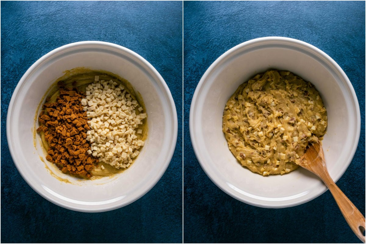 Two photo collage showing chopped biscoff cookies and white chocolate chips added to mixing bowl and folded in.