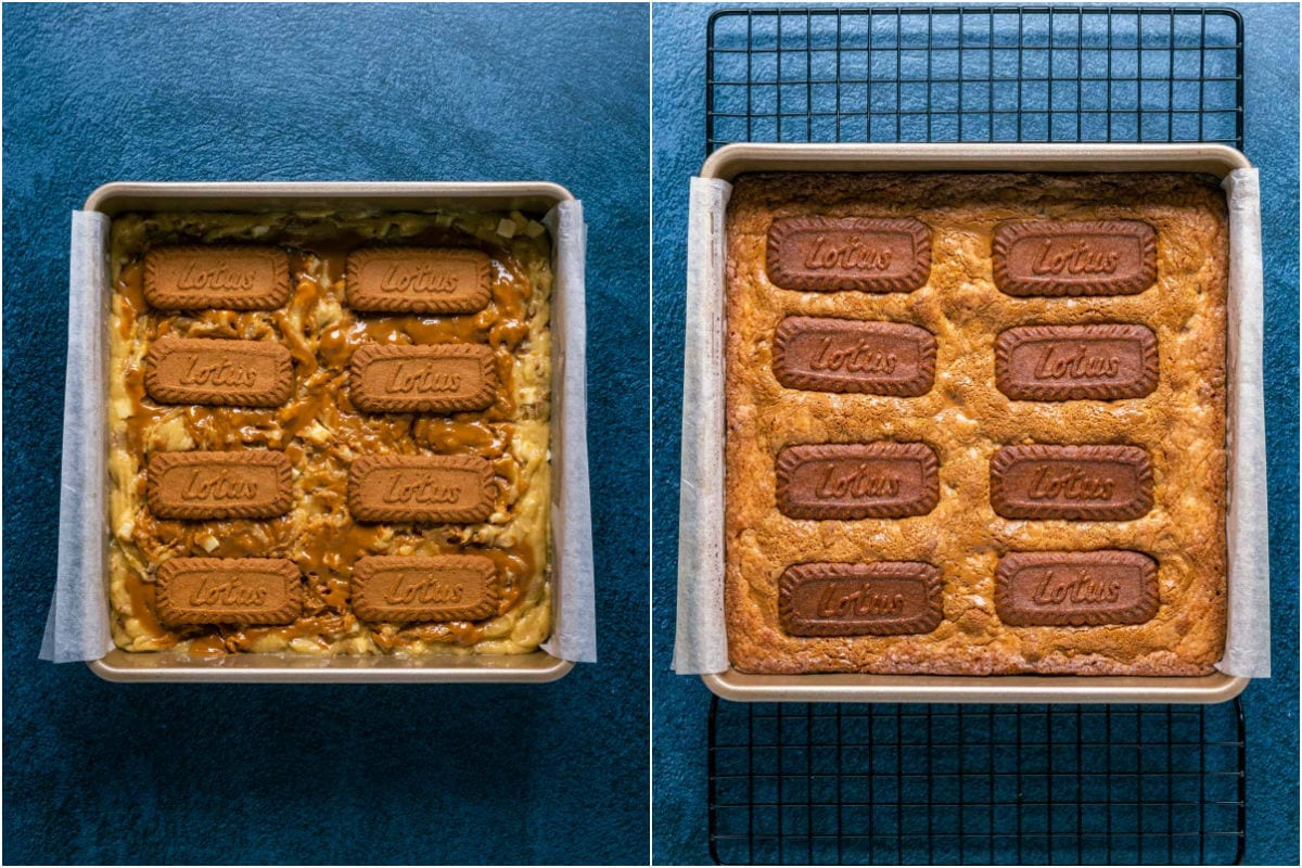 Two photo collage showing biscoff blondies before and after baking.
